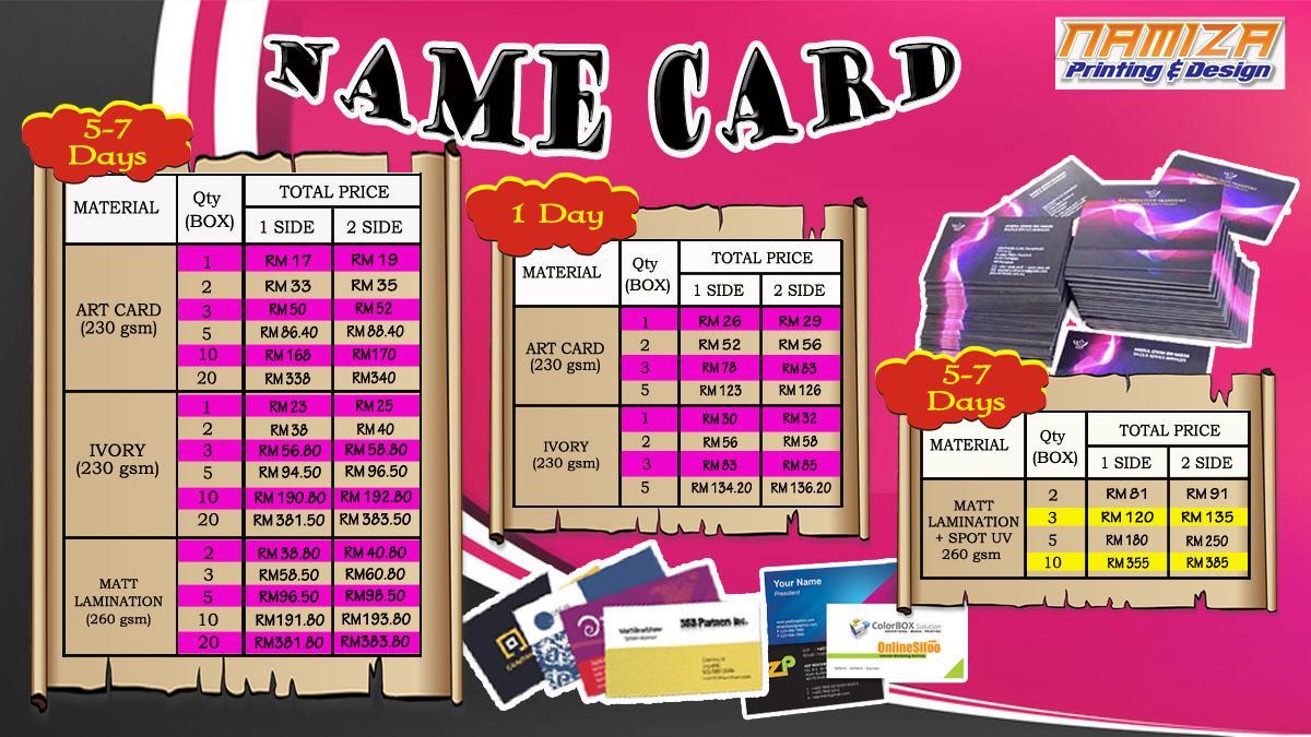 Namiza print shop cyberjaya name card pricing colourmoves